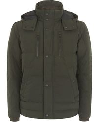 Boss Black Hooded Down Coat - Lyst