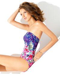 Badgley Mischka Nadia Bandeau Mio One-Piece Swimsuit - Lyst