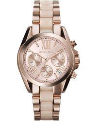 Michael Kors Mini Rose Goldenblush Stainless Steel Bradshaw Chronograph Watch - Lyst