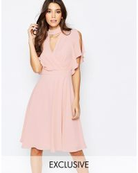 Elise Ryan Cross Front Midi Dress With Fluted Sleeve - Pink