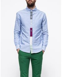 Band Of Outsiders Multi Contrast Placket Shirt - Lyst