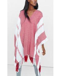 Express Southwestern Striped Poncho - Pink
