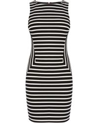 Karen Millen Stripe Panelled Dress - Lyst