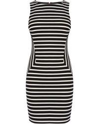 Karen Millen Stripe Panelled Dress black - Lyst