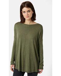 Topshop Paneled Longline Sweater green - Lyst