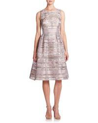 Kay Unger | Floral Stripe Fit & Flare Dress | Lyst