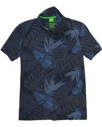 BOSS Green Slim-Fit Cotton-Blend Polo Shirt 'Paule 8' - Blue