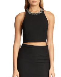 Elizabeth And James Whinnie Embellished-Neck Cropped Top - Lyst