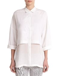 Helmut Lang Layered Cotton Button-Down Blouse - Lyst