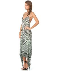 Gypsy 05 Minerva Printed Voile Spaghetti Racer Dress In Mint multicolor - Lyst