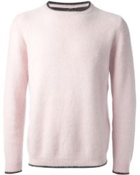 Sibling - Contrasting Trim Crew Neck Sweater - Lyst