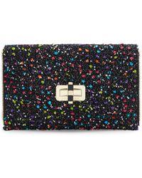 Diane von Furstenberg Agent Karlie Confetti Tweed Zip On Clutch black - Lyst