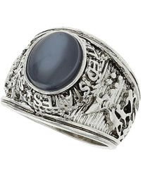 TOPSHOP - Womens Engraved Blue Cats Eye Ring Silver - Lyst