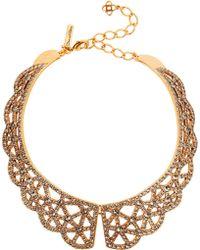 Oscar de la Renta Gold-plated Crystal Necklace - Lyst