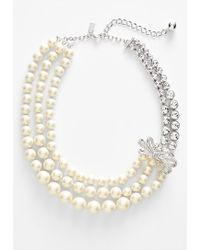 Kate Spade 'Pearly Glow' Faux Pearl & Crystal Multistrand Necklace - Cream Multi - Lyst