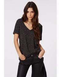 Missguided Braidy V Neck T Shirt Black Marl - Lyst