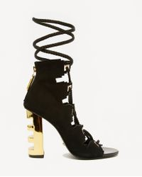 Kat Maconie - Betsy Black & Gold Ghillie Multi Lace Heeled Sandals - Lyst
