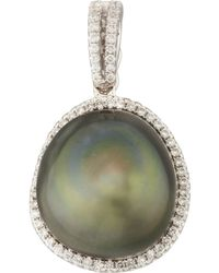 Eli Jewels - Gray South Sea Pearl And Diamond Halo Pendant - Lyst