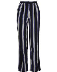 Topshop Striped Wide Leg Trousers - Lyst