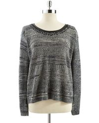 Guess Long Sleeved Sweater With Beaded Neckline - Lyst