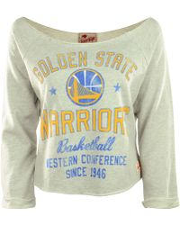 Sportiqe Long Sleeve Golden State Warriors Crop Top - Gray