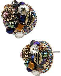 Betsey Johnson - Confetti Hematite-tone Pave Heart Stud Earrings - Lyst