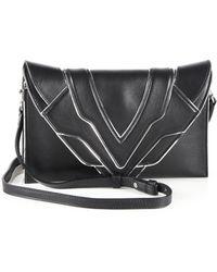 Elena Ghisellini Selina Metallic-trimmed Leather Crossbody Bag - Black