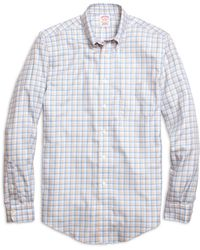Brooks Brothers Non-Iron Madison Fit Orange Twin Check Sport Shirt - Lyst