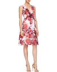 Carolina Herrera Floral-Print Tie-Waist Cocktail Dress - Lyst