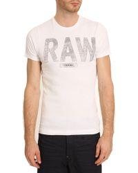 G-star Raw Terrams White Logo Tshirt - Lyst