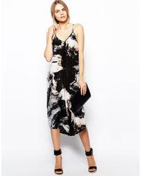 Aryn K. Printed Silk Maxi Dress with Uneven Hem - Blue