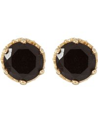 Anna Sheffield - Tiny Gold Black Spinel Stud Earrings - Lyst