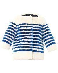 Marc Jacobs - Striped Rabbit-Fur Jacket - Lyst