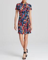 Karen Kane Paint Print Cascade Faux Wrap Dress multicolor - Lyst