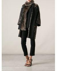 Roberto Cavalli Leopard Print Coat - Black