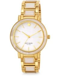 Kate Spade Gramercy Grand Mother-Of-Pearl & Goldtone Stainless Steel Bracelet Watch pink - Lyst