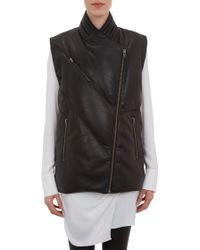Helmut Lang Quilted Leather Long Vest - Lyst
