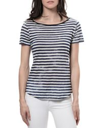 Majestic Striped Crew Neck Tee - Lyst