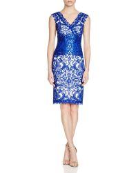 Tadashi Shoji V-neck Corded Tulle Dress - Blue