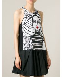 Isola Marras - Printed Panel Dropped Waist Dress - Lyst