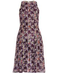 Mary Katrantzou Iris Embroidered Tulle Dress purple - Lyst