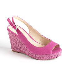 Franco Sarto Rory Canvas Slingback Wedge Sandals - Lyst