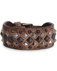 Frye - 'deborah' Studded Leather Cuff Bracelet - Whiskey - Lyst