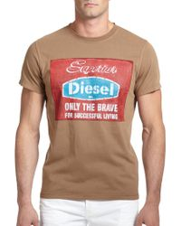 Diesel 'Only The Brave' Printed Cotton Tee brown - Lyst