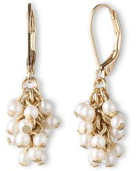 Lonna & Lilly - Goldtone And Pearl Cluster Drop Earrings - Lyst