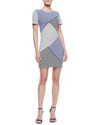 Tibi Racetrack Striped Bandage Dress Blue Multi 2 - Lyst
