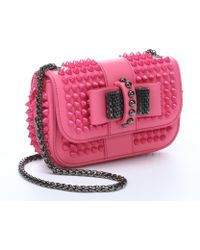 Christian Louboutin Pink Leather Spiked 'Sweet Charity' Shoulder Bag - Lyst