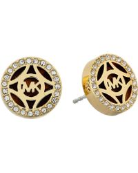 Michael Kors Monogram Gold & Pave With Acetate Stud Earring - Lyst