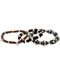 Steve Madden - Silver-Tone Geometric Wood Bead Stretch Bracelet Set - Lyst