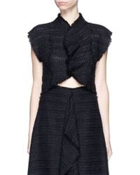 Proenza Schouler | Frayed Tweed Ruffle Cropped Top | Lyst